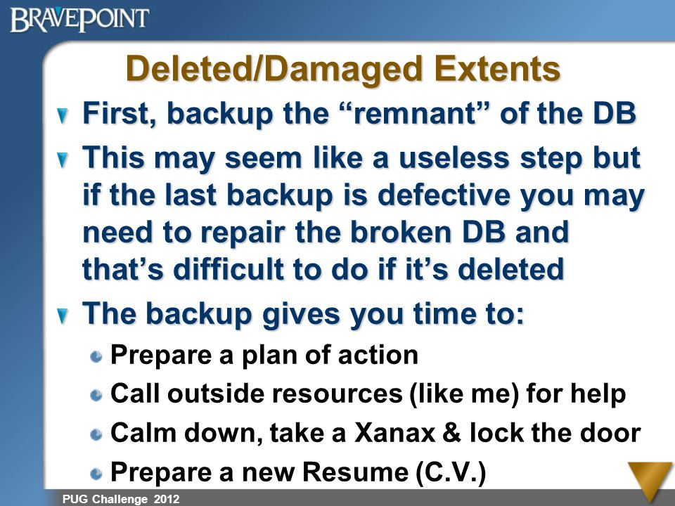 Deleted/Damaged Extents