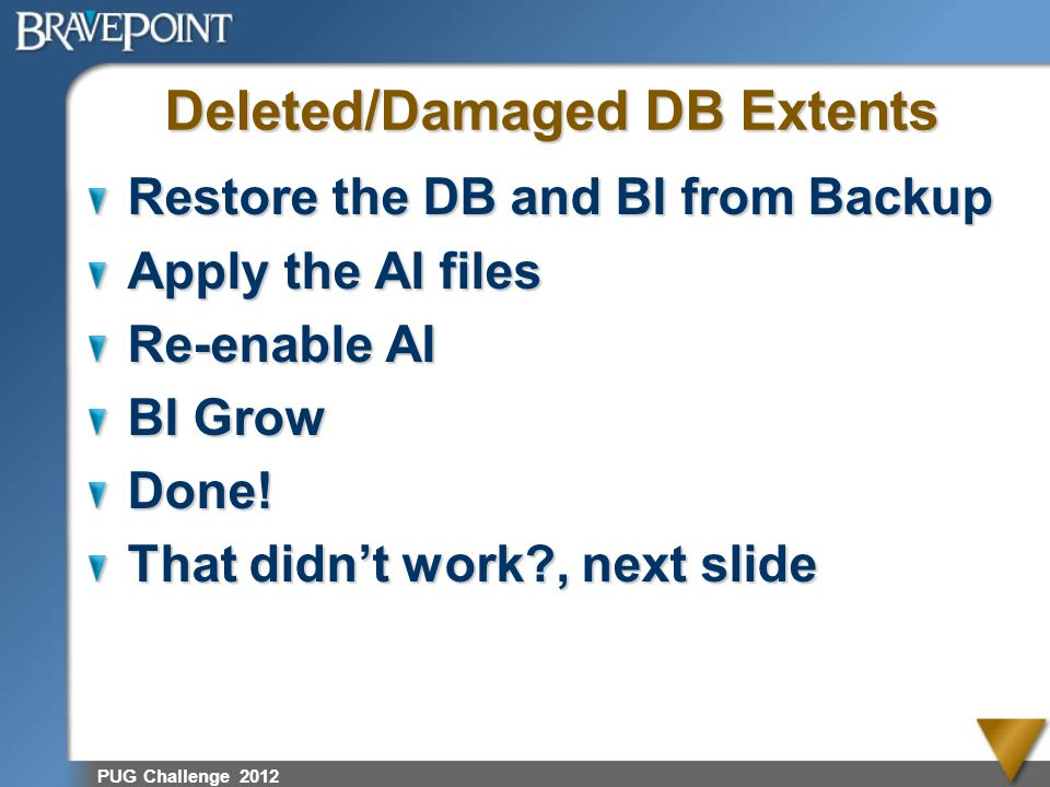 Deleted/Damaged DB Extents