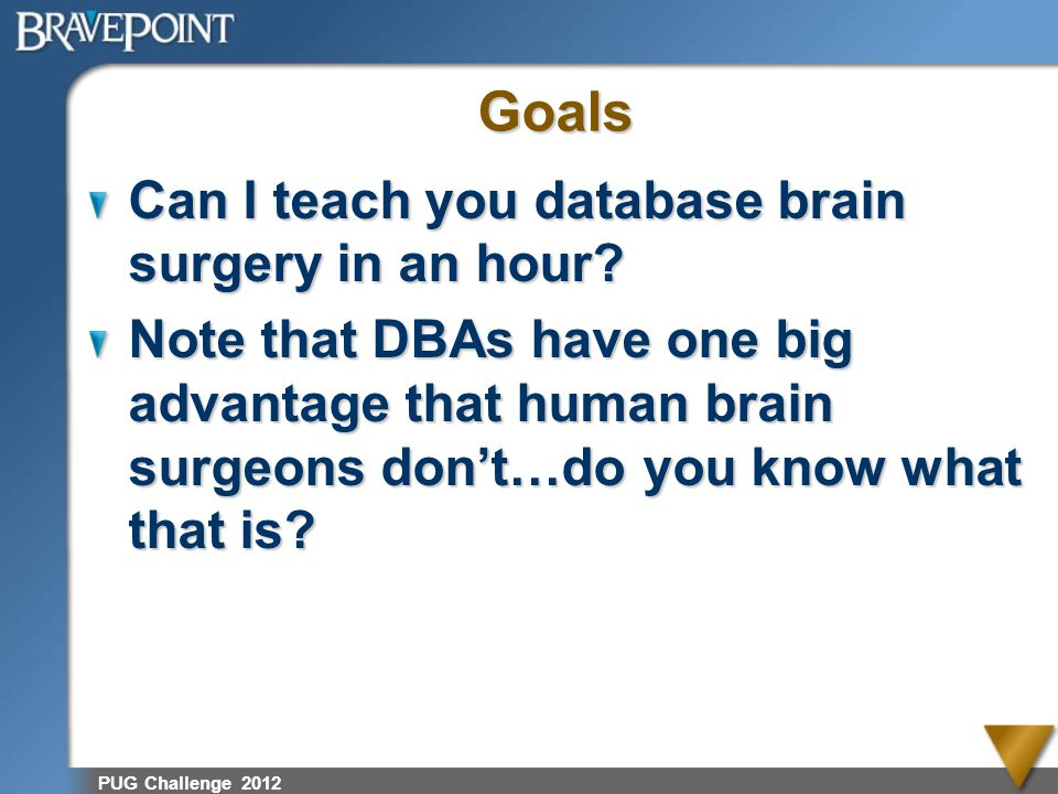 Goals Can I teach you database brain surgery in an hour