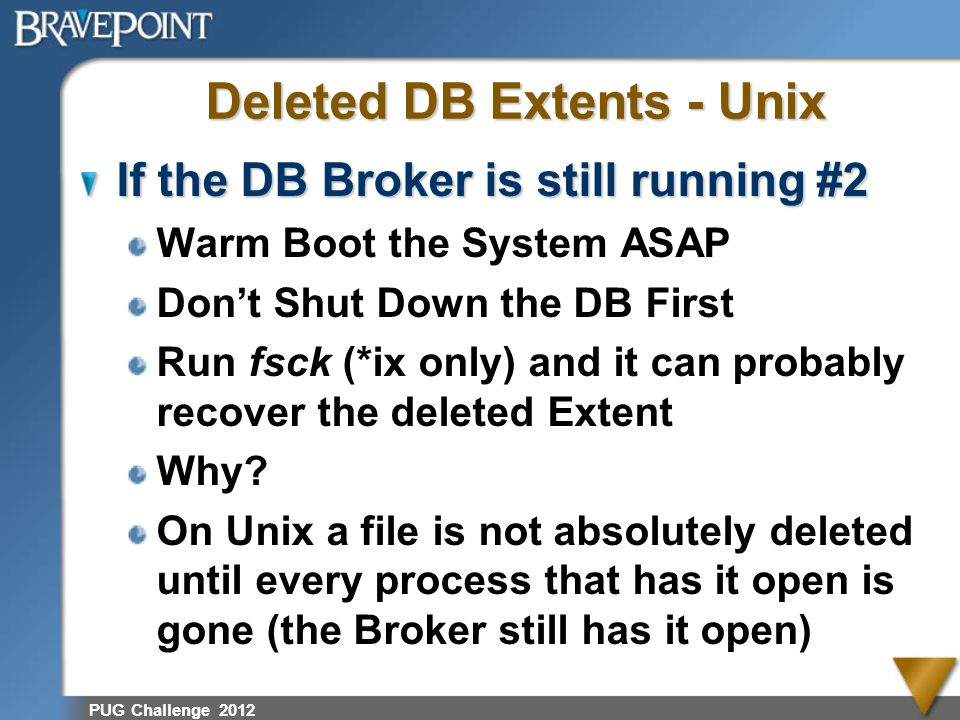 Deleted DB Extents - Unix