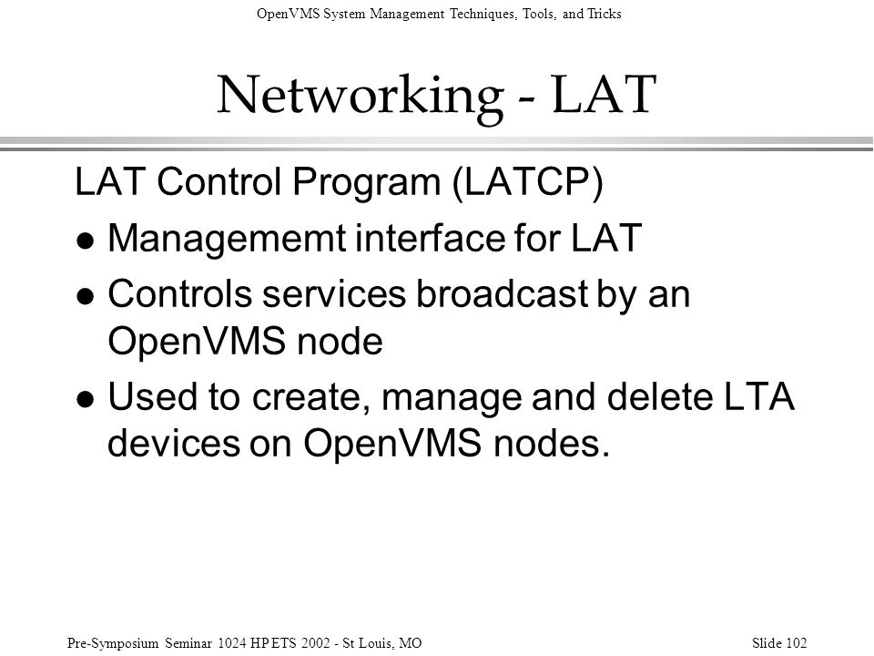 Networking - LAT LAT Control Program (LATCP)