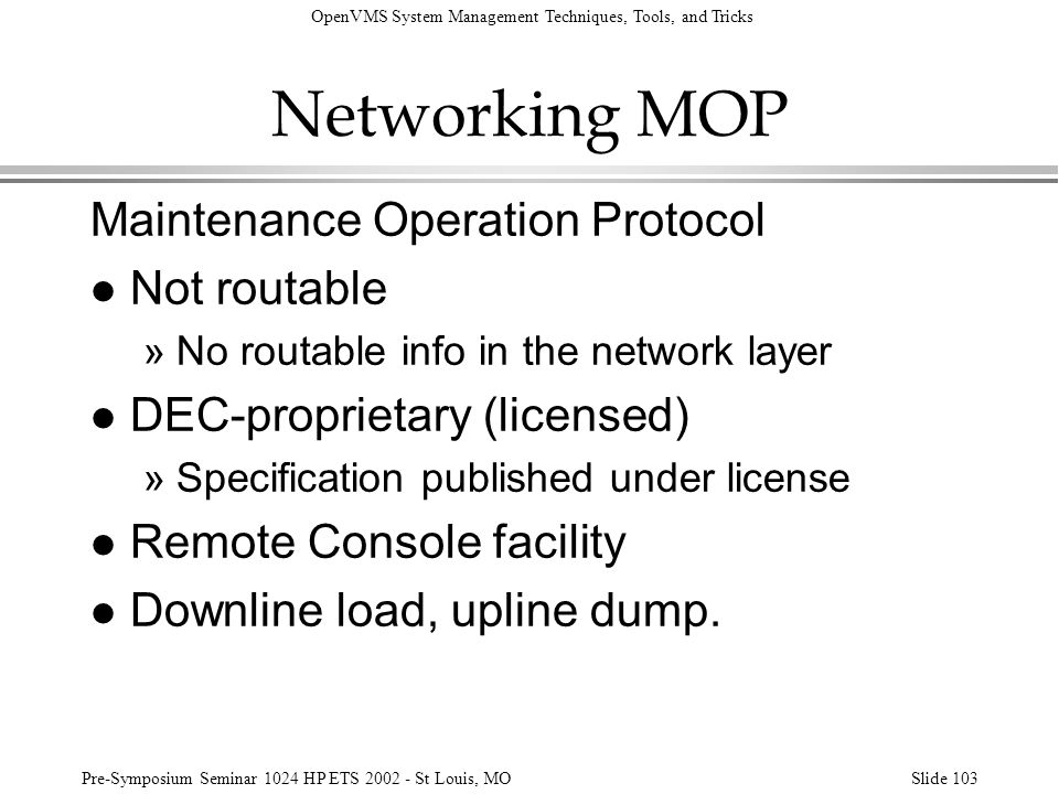 Networking MOP Maintenance Operation Protocol Not routable