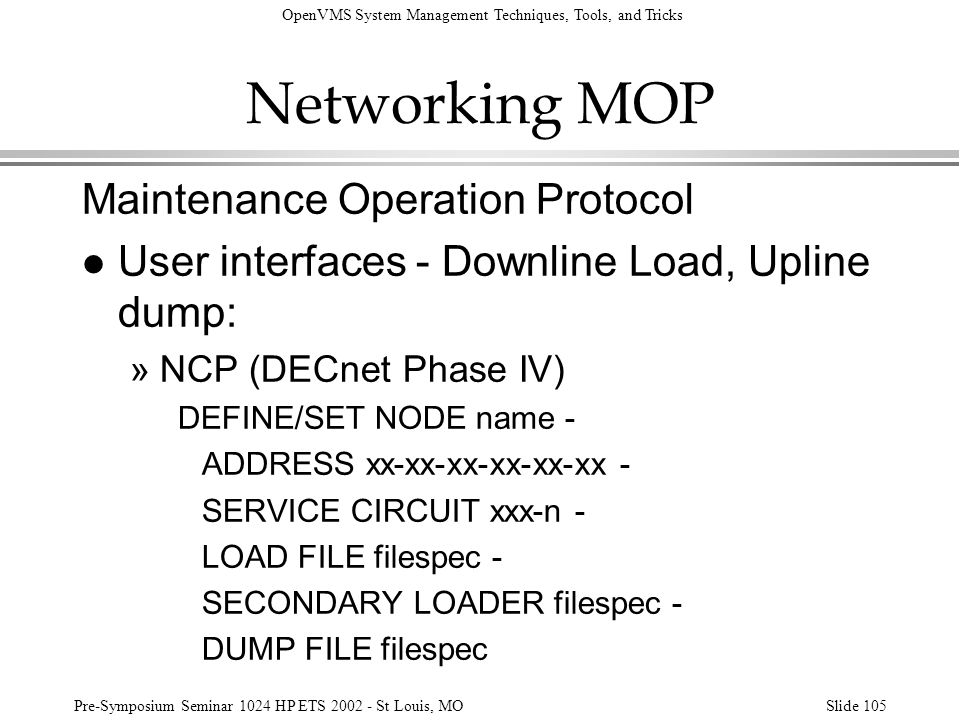Networking MOP Maintenance Operation Protocol