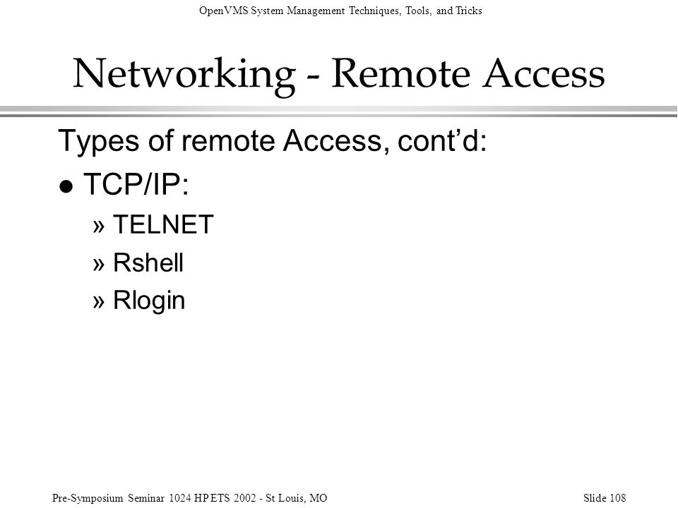 Networking - Remote Access