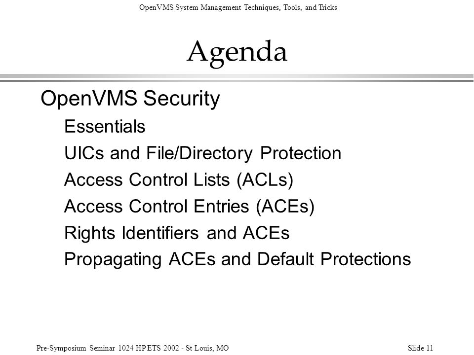 Agenda OpenVMS Security Essentials UICs and File/Directory Protection
