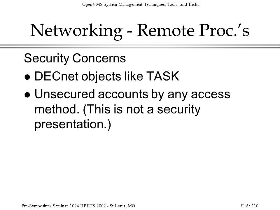 Networking - Remote Proc.'s