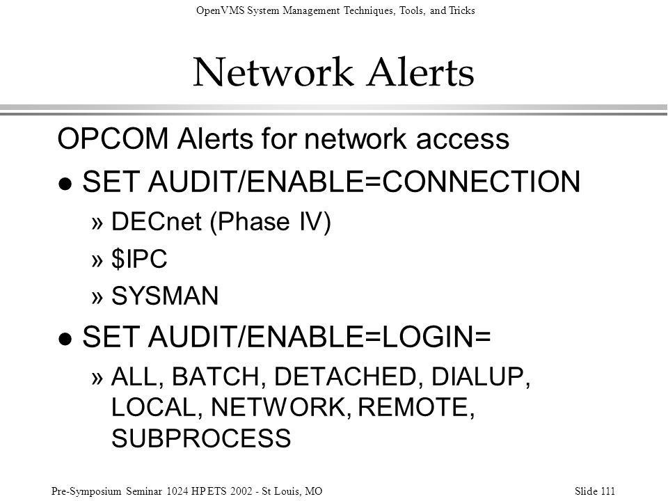 Network Alerts OPCOM Alerts for network access