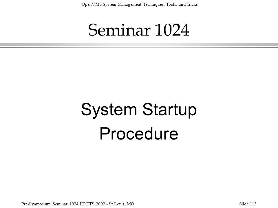 Seminar 1024 System Startup Procedure