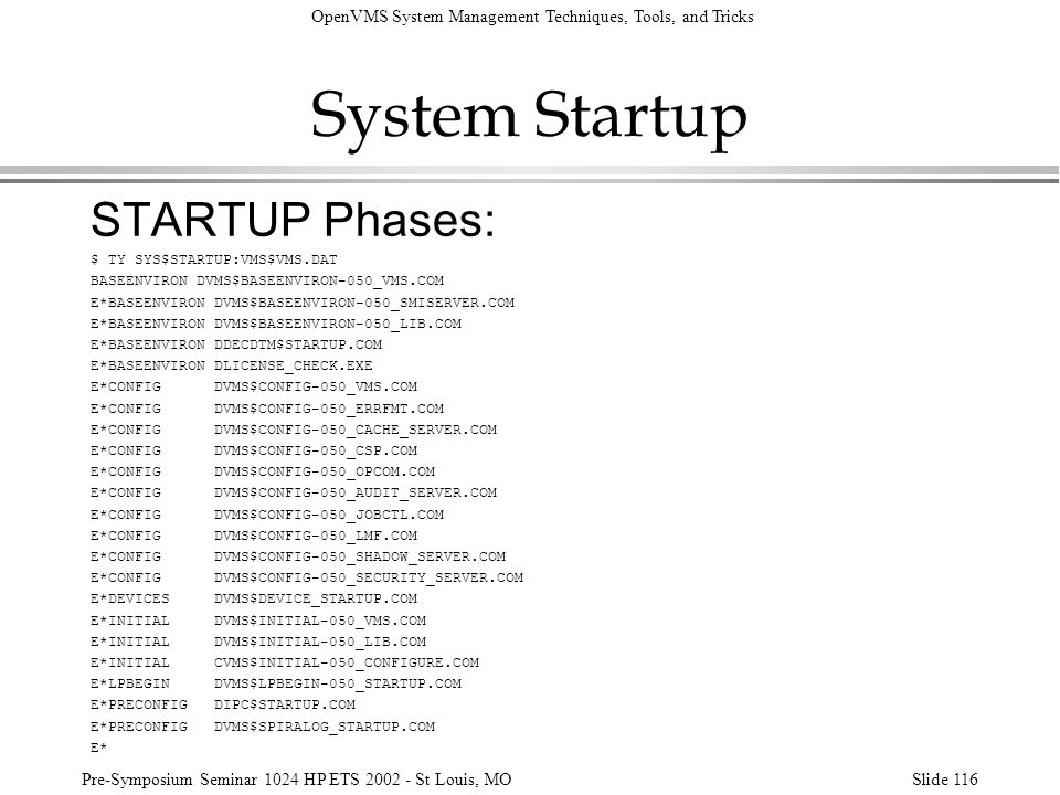 System Startup STARTUP Phases: