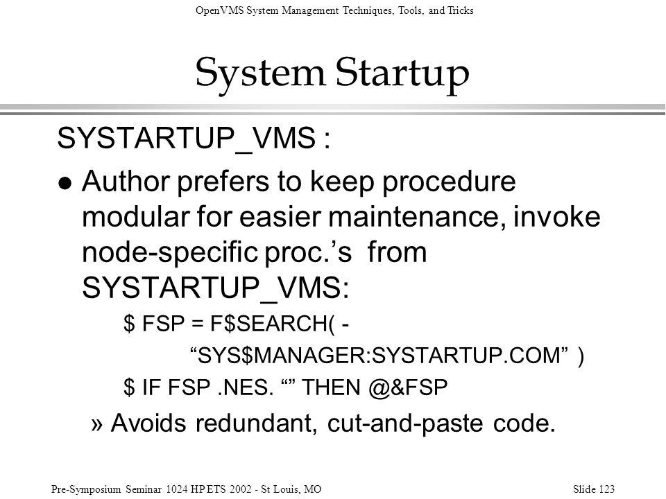 System Startup SYSTARTUP_VMS :