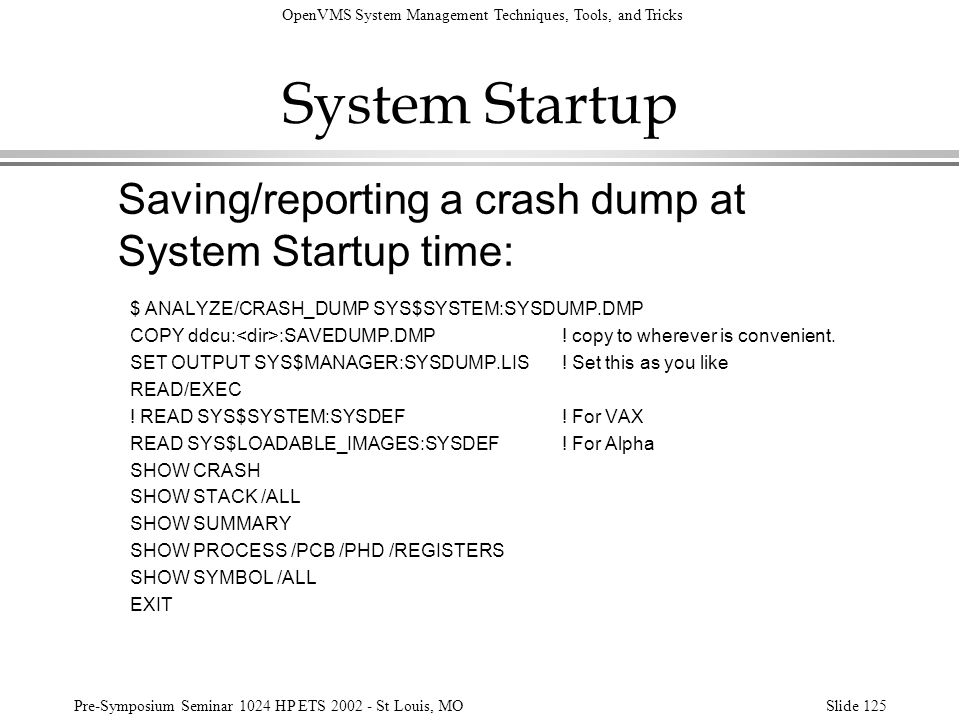 System Startup Saving/reporting a crash dump at System Startup time: