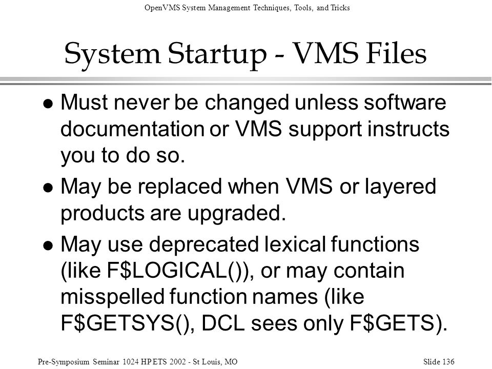 System Startup - VMS Files