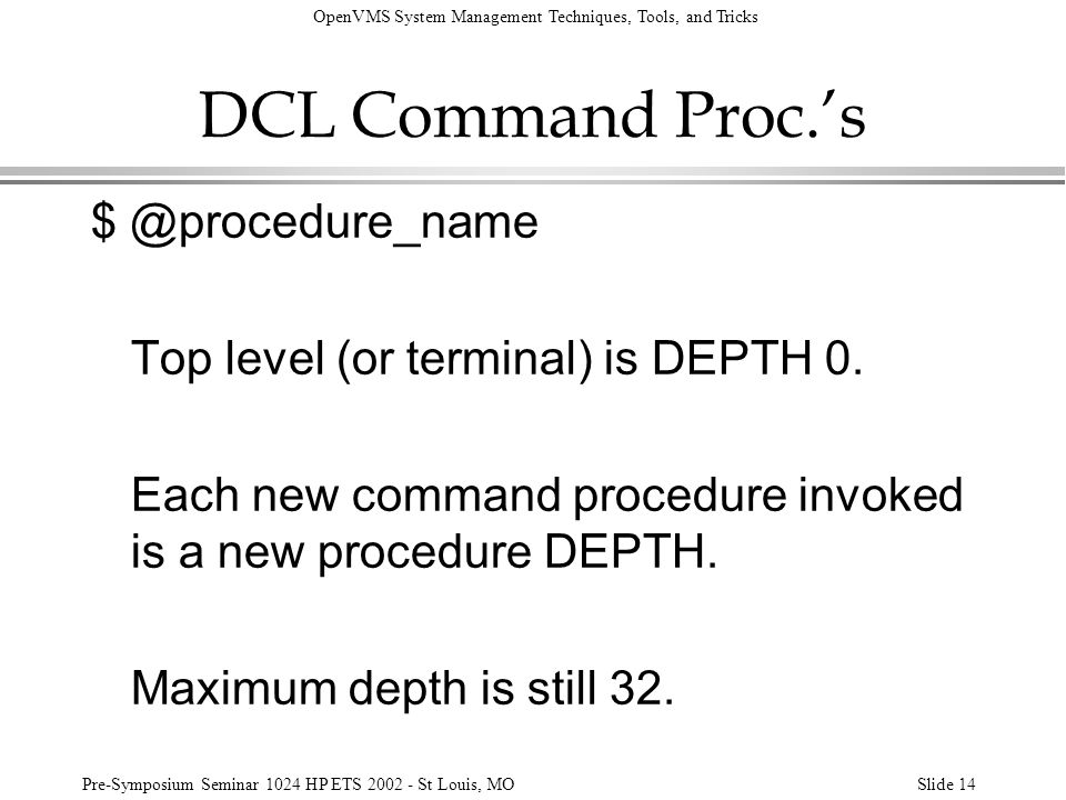 DCL Command Proc.'s $ @procedure_name