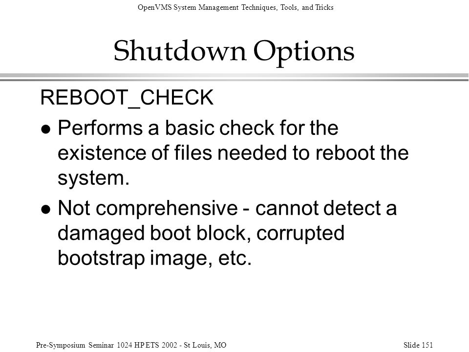 Shutdown Options REBOOT_CHECK