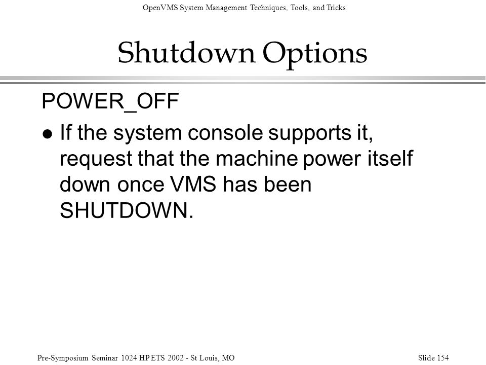 Shutdown Options POWER_OFF