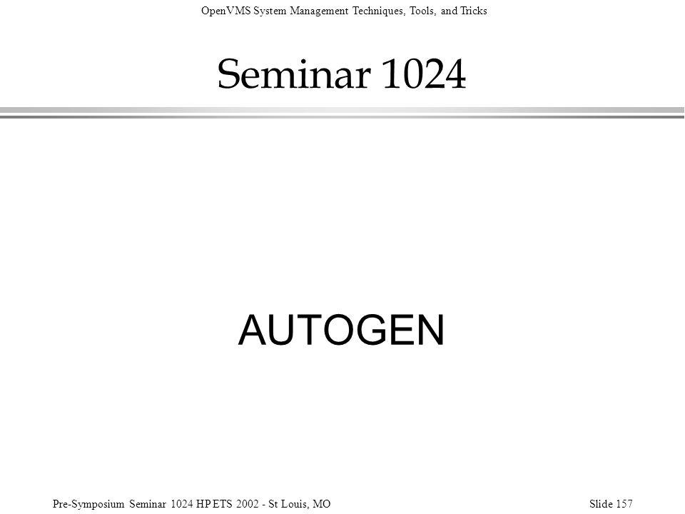 Seminar 1024 AUTOGEN