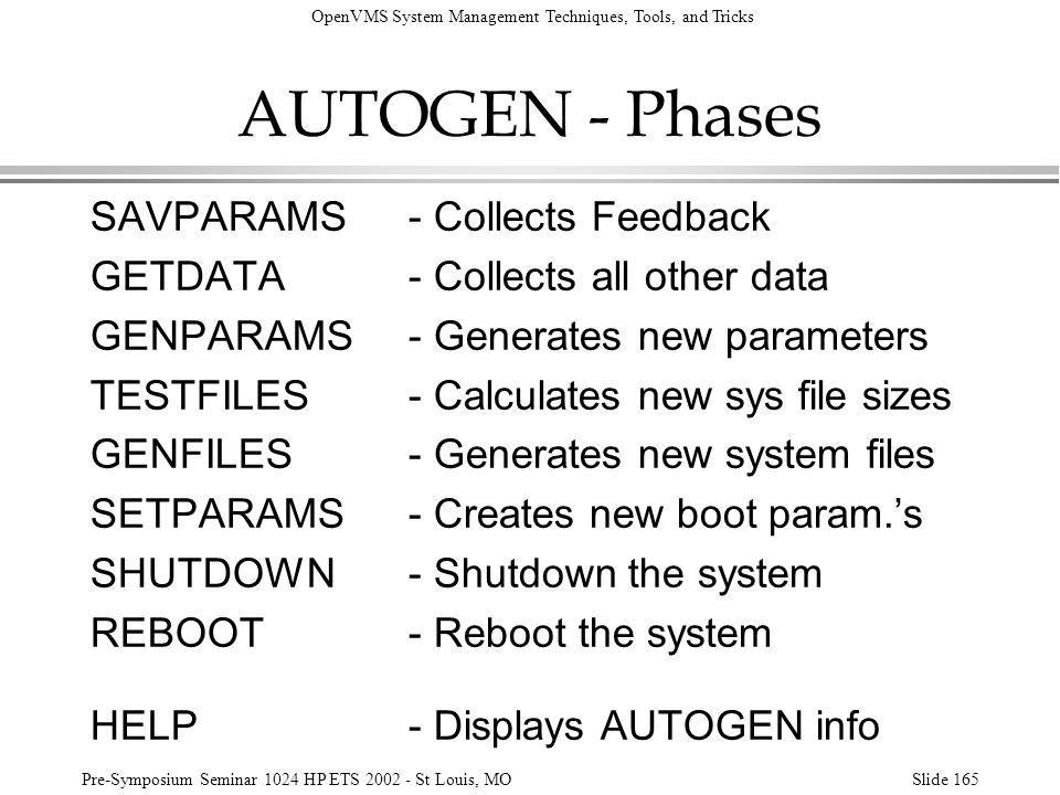 AUTOGEN - Phases SAVPARAMS - Collects Feedback