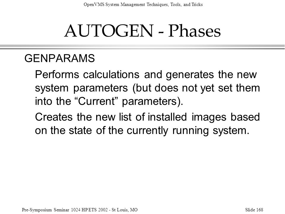 AUTOGEN - Phases GENPARAMS