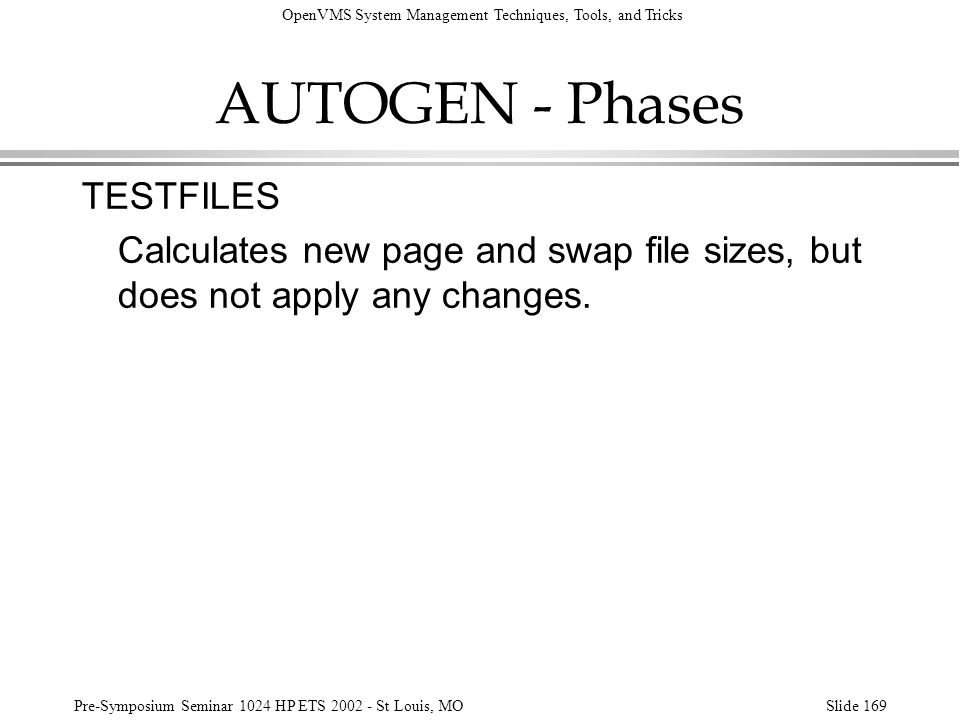 AUTOGEN - Phases TESTFILES