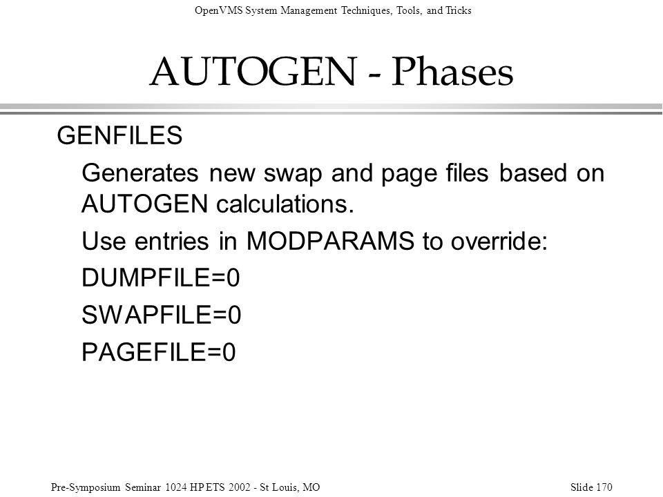 AUTOGEN - Phases GENFILES