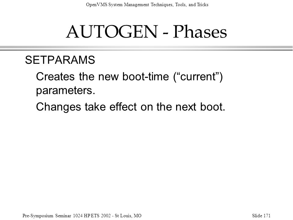 AUTOGEN - Phases SETPARAMS