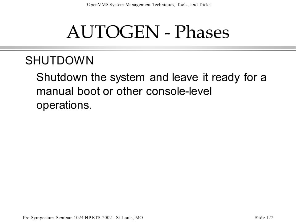 AUTOGEN - Phases SHUTDOWN