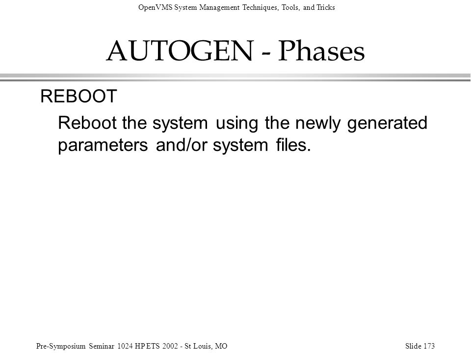 AUTOGEN - Phases REBOOT