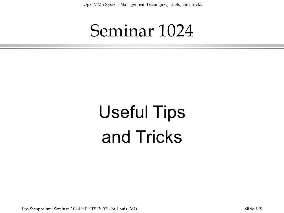 Seminar 1024 Useful Tips and Tricks