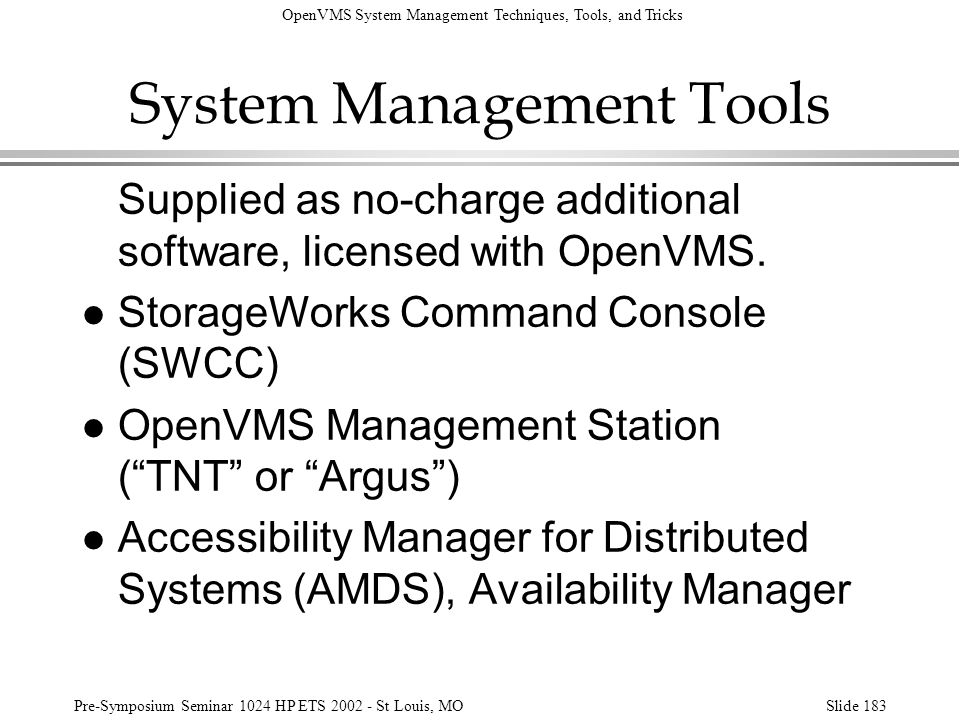 System Management Tools