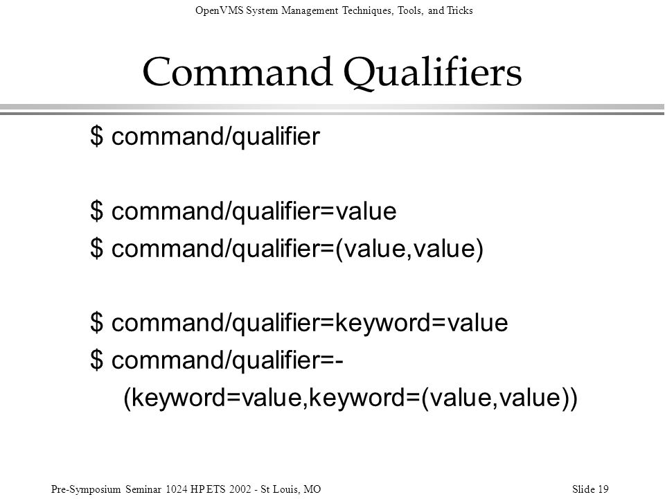 Command Qualifiers $ command/qualifier $ command/qualifier=value