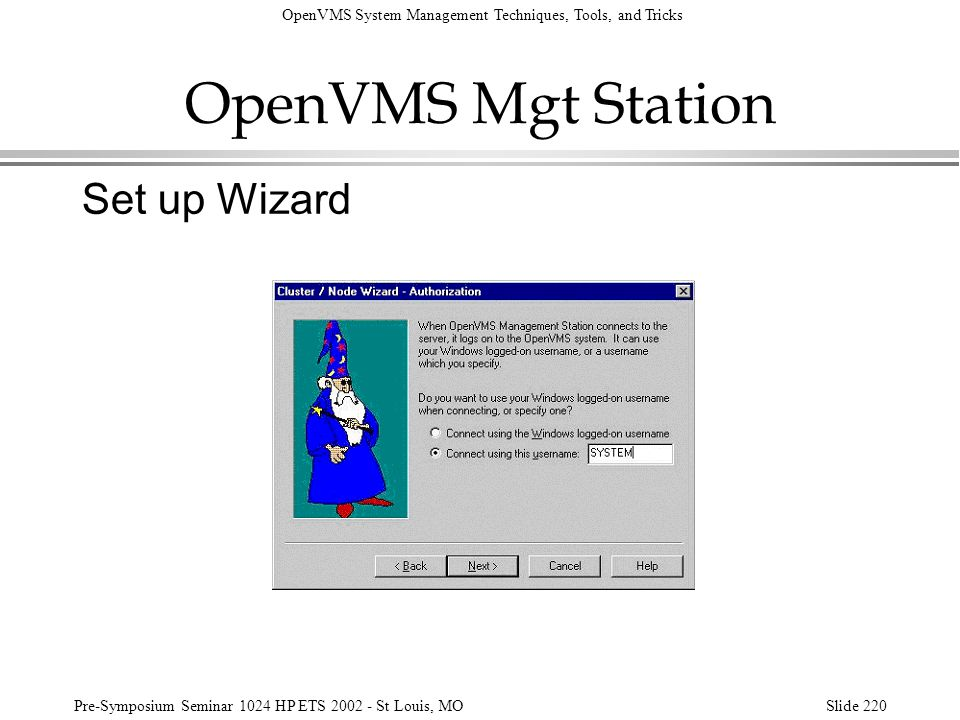 OpenVMS Mgt Station Set up Wizard