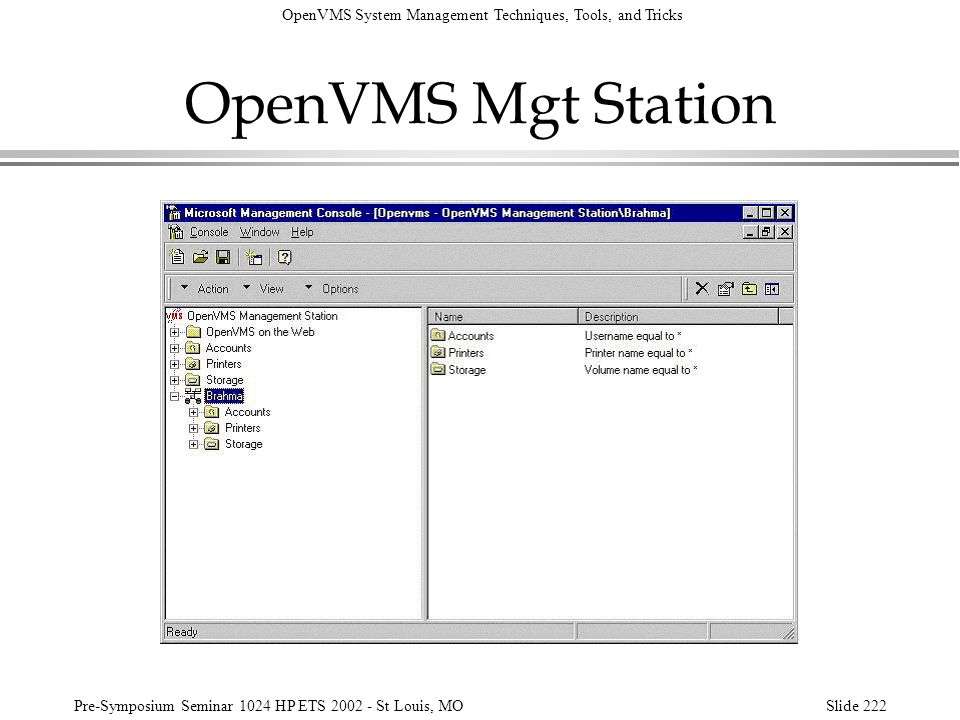 OpenVMS Mgt Station Here is the newly created system/domain, Brahma.
