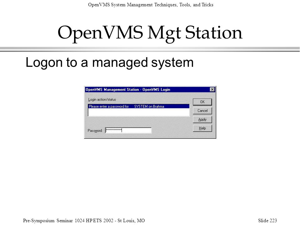 OpenVMS Mgt Station Logon to a managed system