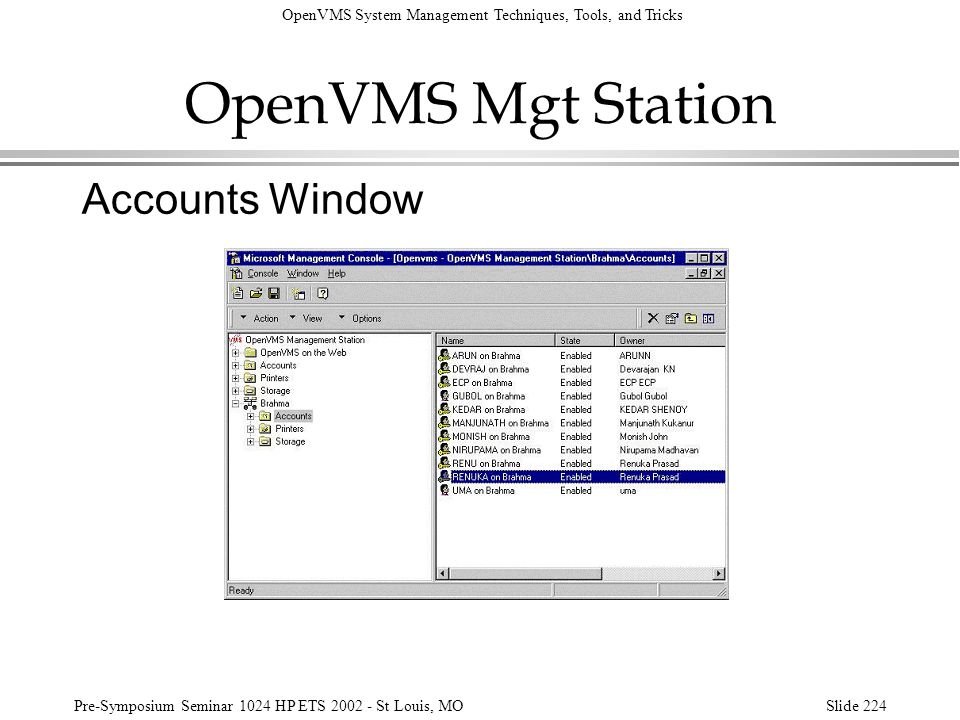 OpenVMS Mgt Station Accounts Window