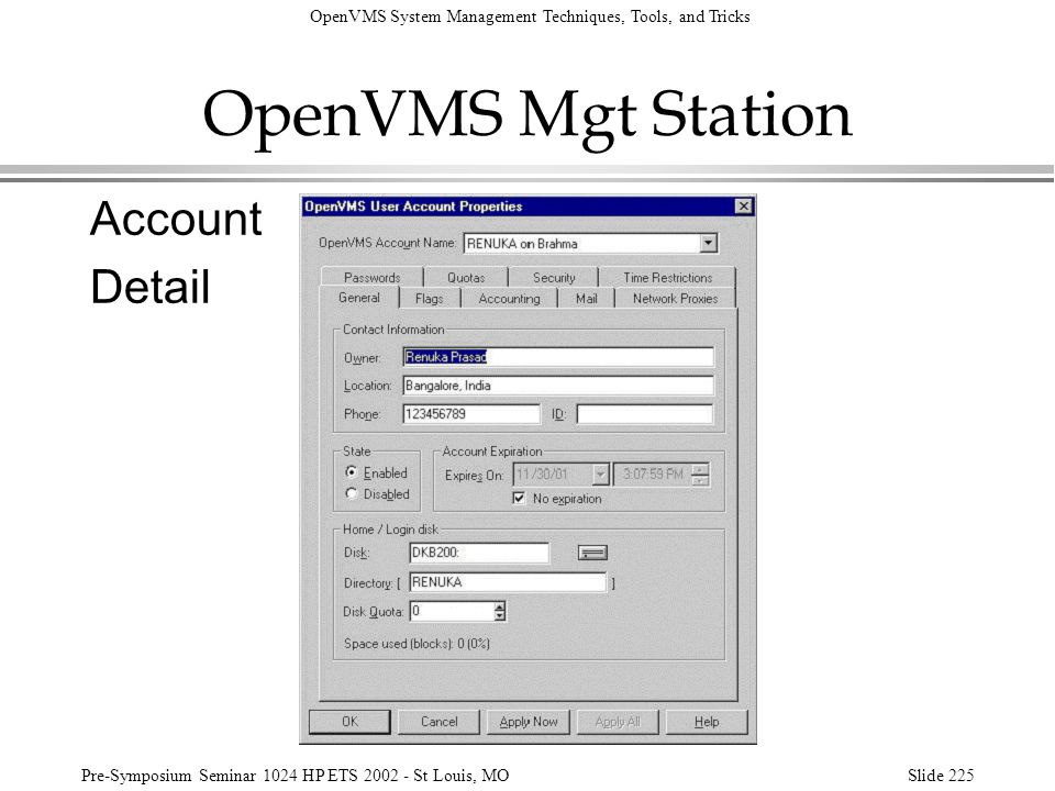 OpenVMS Mgt Station Account Detail