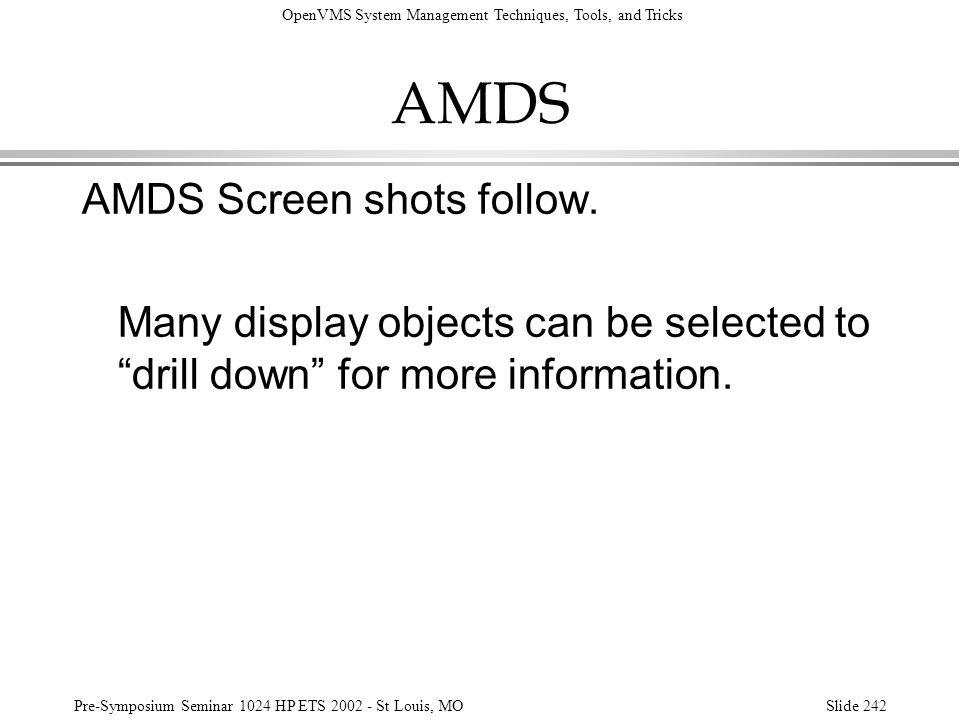 AMDS AMDS Screen shots follow.
