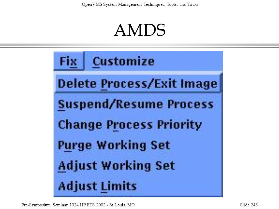 AMDS Another useful feature of AMDS is the ability to force a process to exit the image it is running or to delete a process.