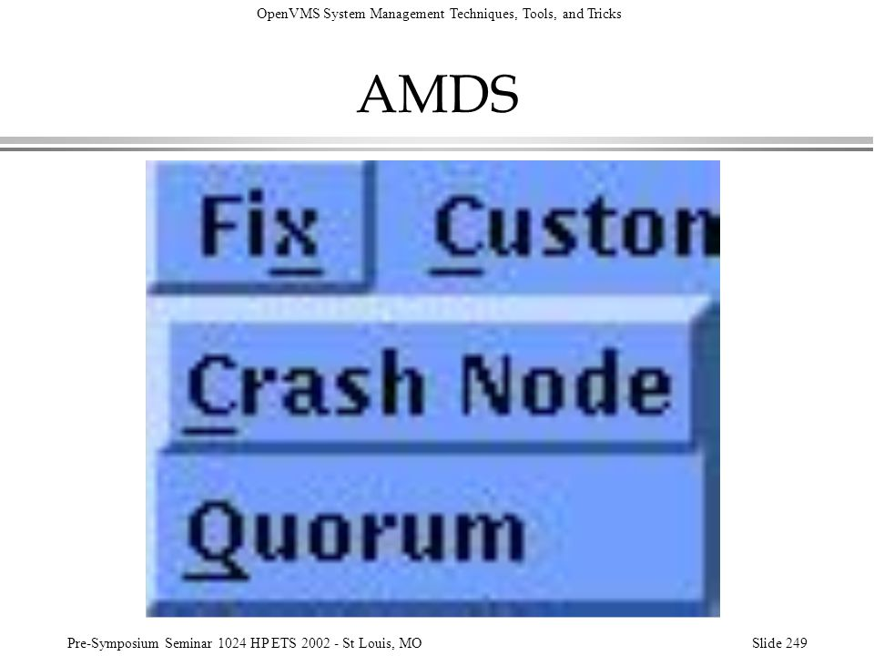 AMDS In the previous slides, a Fix option is visible on the menu bar.