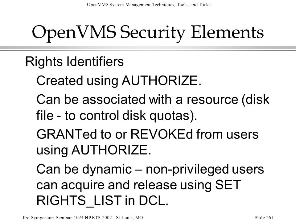 OpenVMS Security Elements