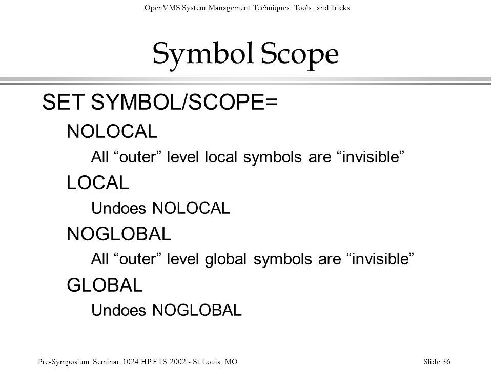 Symbol Scope SET SYMBOL/SCOPE= NOLOCAL LOCAL NOGLOBAL GLOBAL