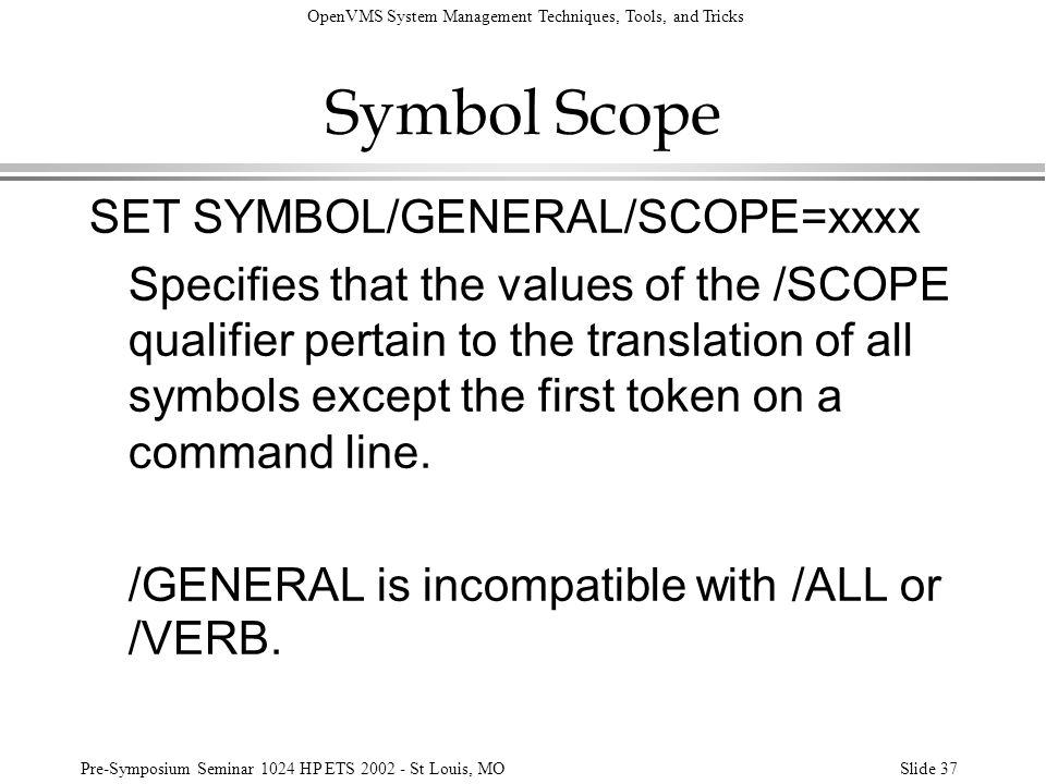 Symbol Scope SET SYMBOL/GENERAL/SCOPE=xxxx