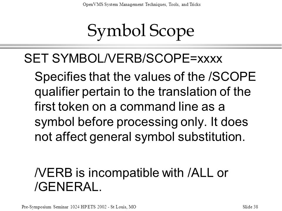 Symbol Scope SET SYMBOL/VERB/SCOPE=xxxx