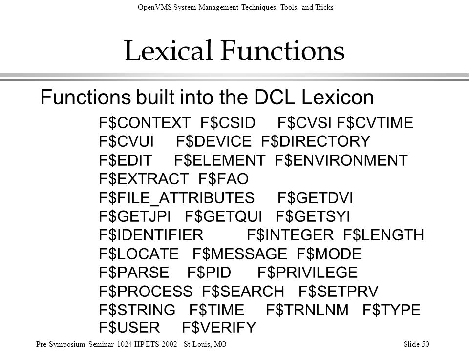 Lexical Functions Functions built into the DCL Lexicon