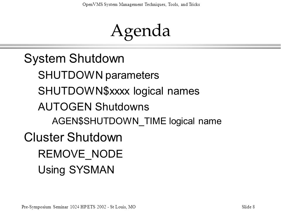 Agenda System Shutdown Cluster Shutdown SHUTDOWN parameters