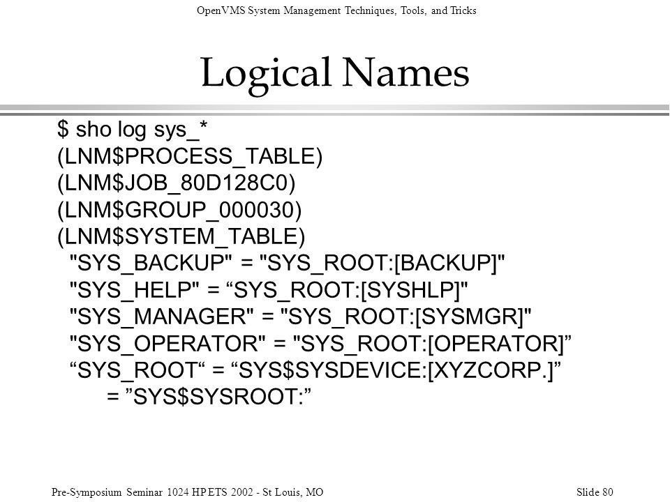 Logical Names $ sho log sys_* (LNM$PROCESS_TABLE) (LNM$JOB_80D128C0)