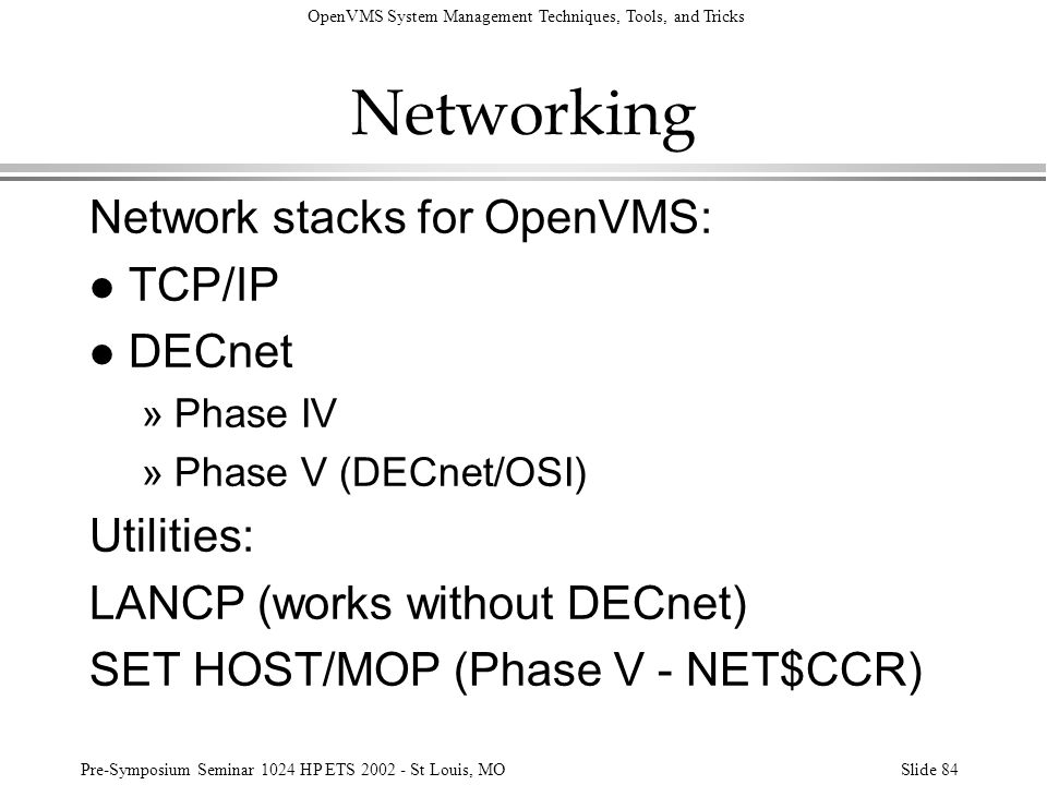 Networking Network stacks for OpenVMS: TCP/IP DECnet Utilities: