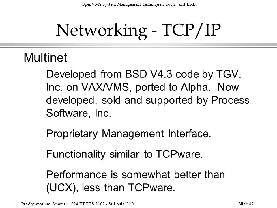 Networking - TCP/IP Multinet
