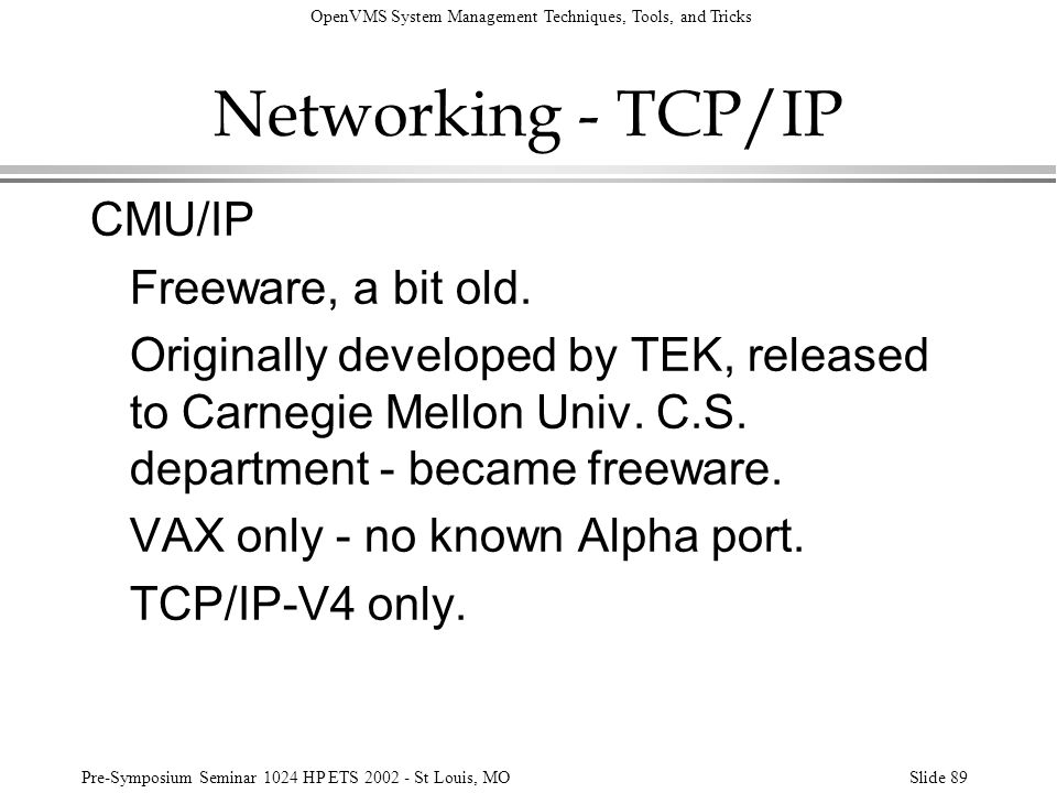 Networking - TCP/IP CMU/IP Freeware, a bit old.