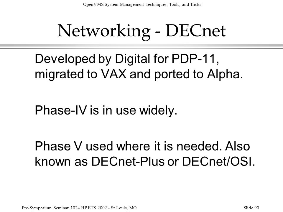 Networking - DECnet Developed by Digital for PDP-11, migrated to VAX and ported to Alpha. Phase-IV is in use widely.