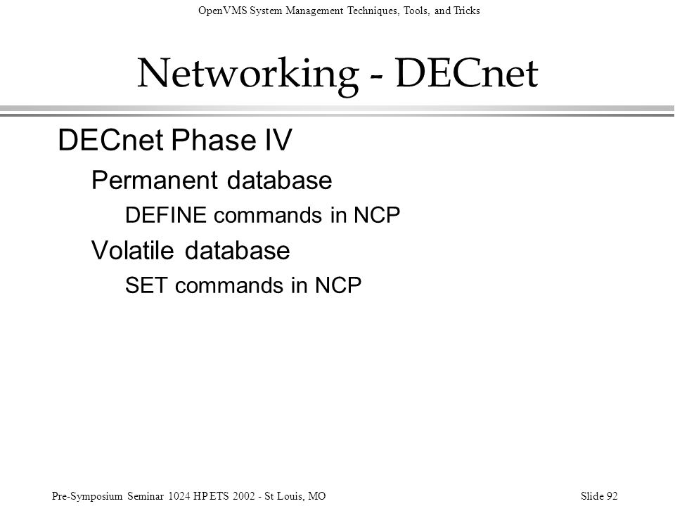 Networking - DECnet DECnet Phase IV Permanent database